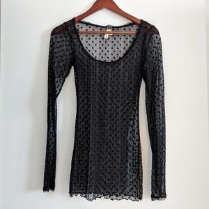 Free People Dotted Mesh Long Sleeve